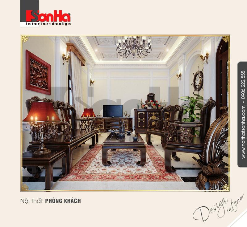 1.Thiết kế nội thất phòng khách cổ điển đẹp tại Bắc Ninh