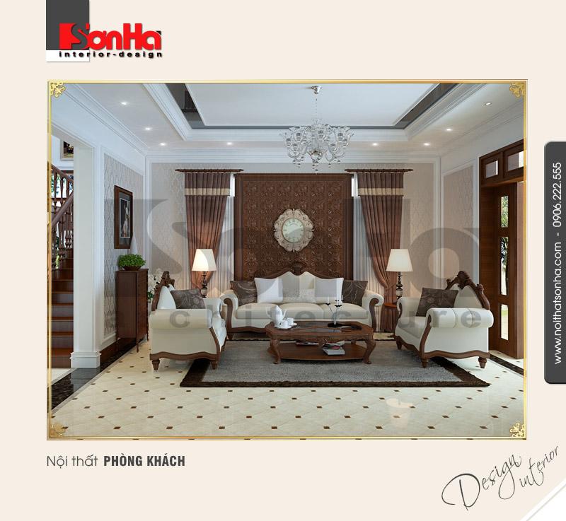 1.Thiết kế nội thất phòng khách cổ điển