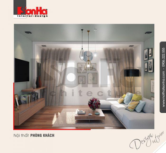 1.Thiết kế nội thất phòng khách hiện đại nhà phố 5 tầng tại hải phòng NT NOD 0133