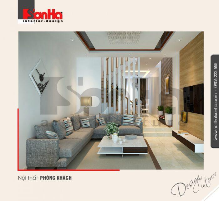 1.Thiết kế nội thất phòng khách tầng 1 nhà ống hiện đại tại hải phòng NT NOD 0125