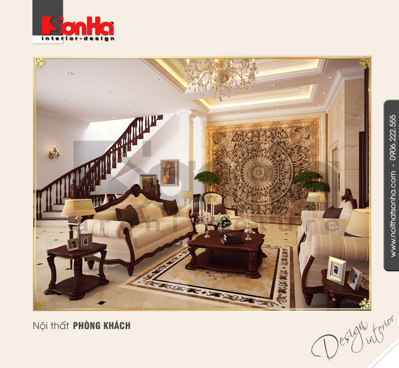 1.Thiết kế nội thất tân cổ điển cao cấp dành cho phòng khách sang trọng