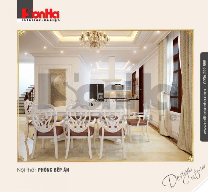 2.Mẫu nội thất cổ điển cho phòng bếp ăn biệt thự