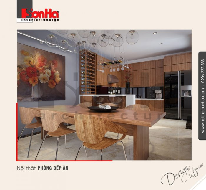 2.Mẫu nội thất phòng bếp ăn biệt thự hiện đại tại hải phòng NT BTD 0036