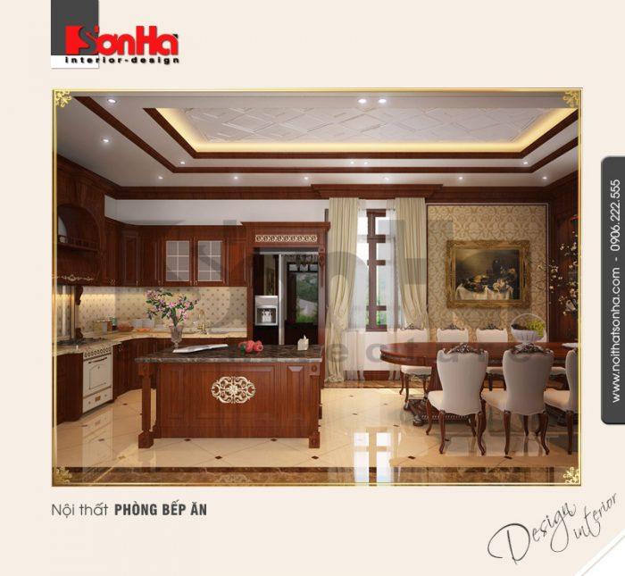 2.Mẫu nội thất phòng bếp ăn biệt thự sang trọng