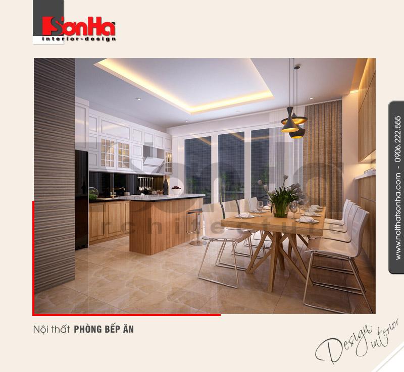 2.Mẫu nội thất phòng bếp ăn bố trí hợp lý tiện lợi