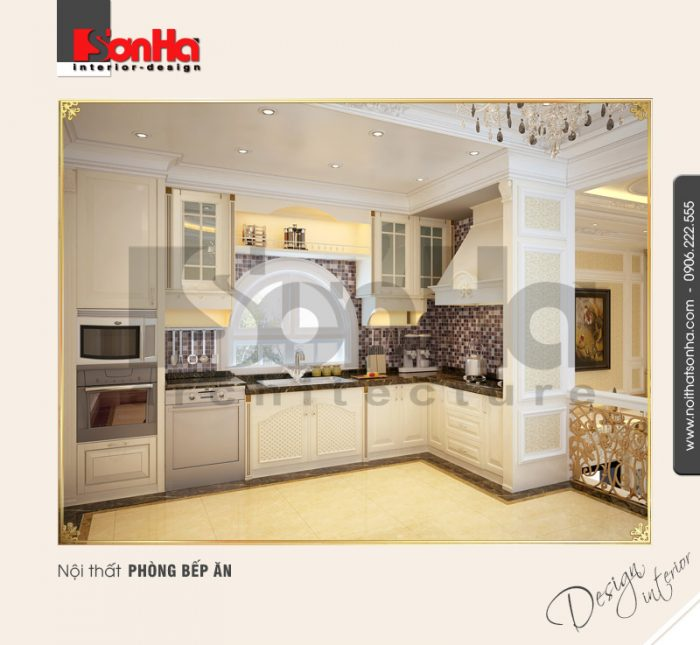 2.Mẫu nội thất phòng bếp ăn cổ điển dành cho biệt thự
