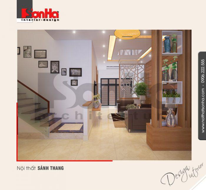 2.Mẫu nội thất sảnh thang nhà ống hiện đại đẹp tại hải phòng NT NOD 0127
