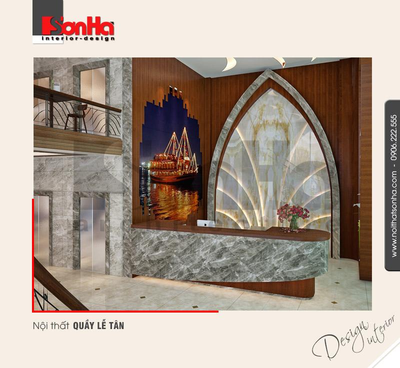 7.Thiết kế nội thất quầy lễ tân khách sạn 5 sao