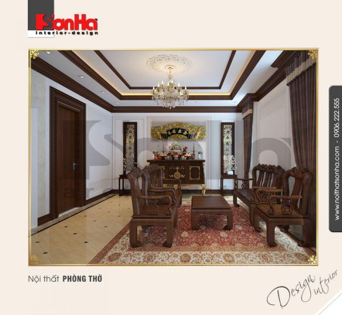 9.Thiết kế nội thất cổ điển cho phòng thờ đẹp