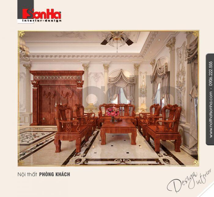 1.Thiết kế nội thất biệt thự cổ điển siêu sang cho phòng khách