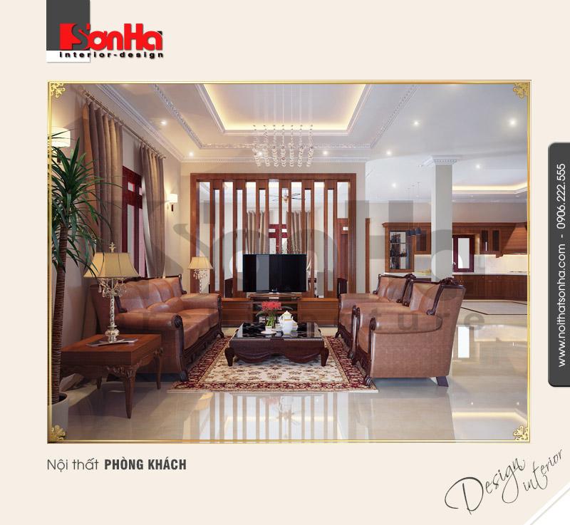 1.Thiết kế nội thất cổ điển pháp cho phòng khách biệt thự