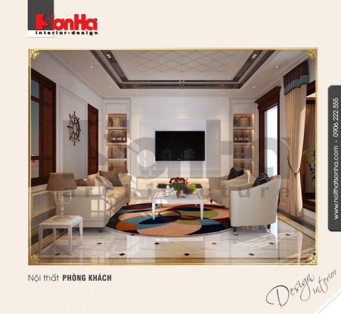 1.Thiết kế nội thất phòng khách biệt thự tân cổ điển đẹp