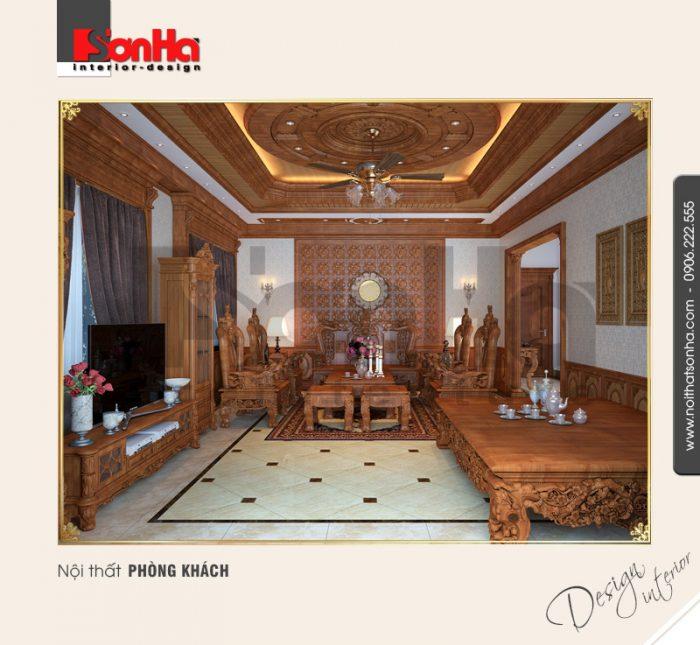 1.Thiết kế nội thất phòng khách cổ điển đẹp