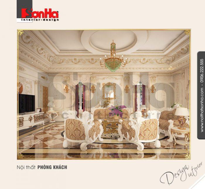 1.Thiết kế nội thất phòng khách cổ điển sang trọng đẹp