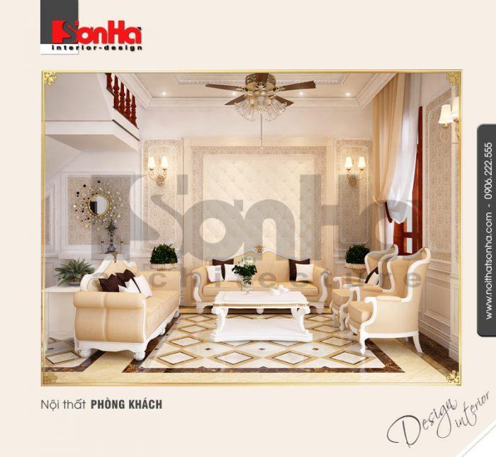 1.Thiết kế nội thất phòng khách cổ điển tại tầng 1 sang trọng