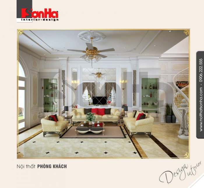 1.Thiết kế thi công nội thất phòng khách biệt thự sang trọng đẹp