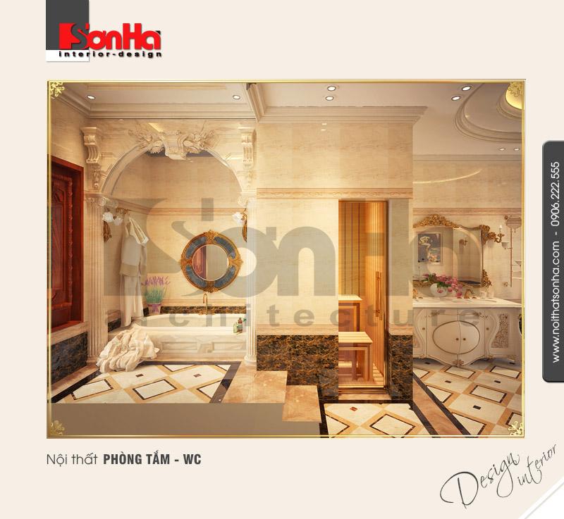 12.Mẫu nội thất biệt thự cổ điển dành cho phòng tắm wc đẹp ấn tượng