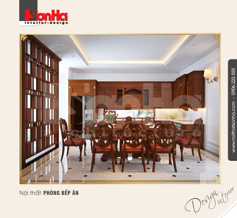 2.Mẫu nội thất biệt thự cao cấp dành cho phòng bếp ăn sang trọng
