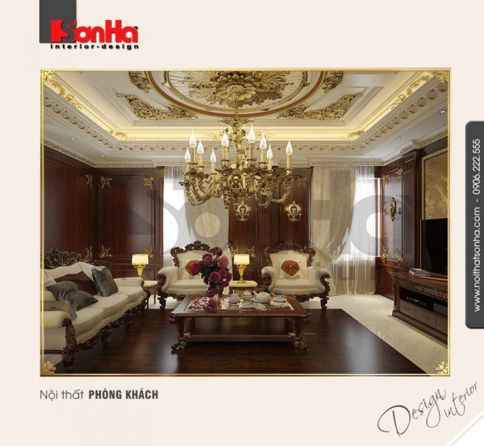 2.Mẫu nội thất biệt thự pháp đẹp dành cho phòng khách cổ điển