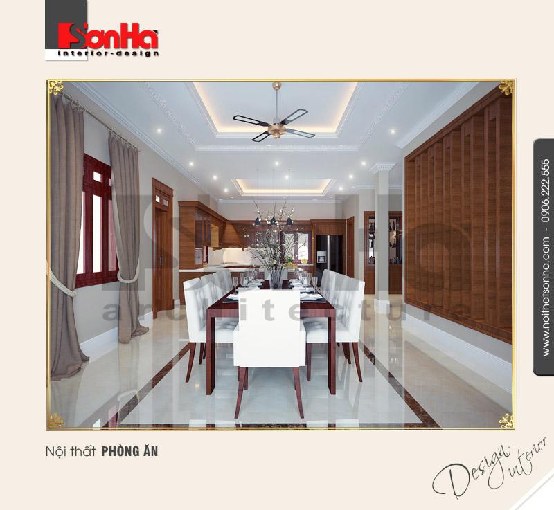 3.Thiết kế nội thất phòng ăn biệt thự cổ điển