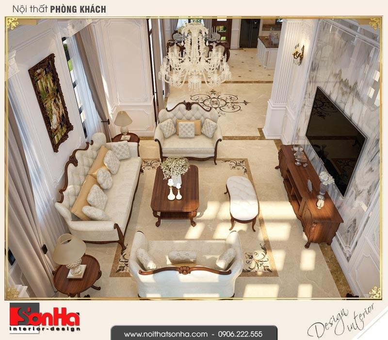 2 Thiết kế nội thất phòng khách biệt thự tân cổ điển khu đô thị vinhomes hải phòng