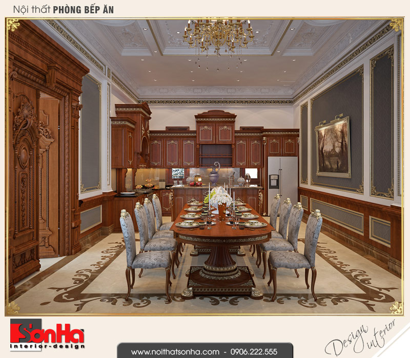 3 Mẫu nội thất phòng bếp ăn biệt thự pháp cổ điển tại cần thơ sh btp 0120