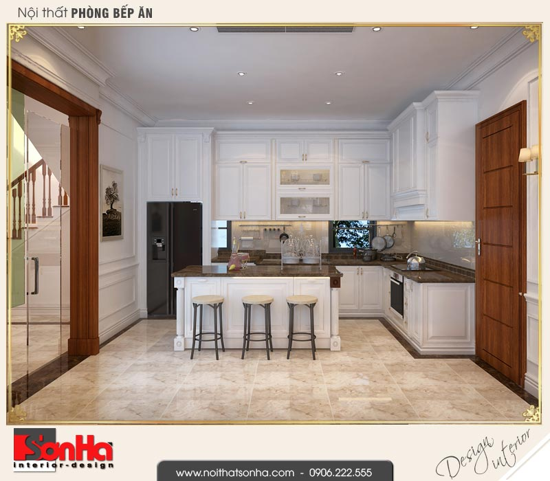 3 Thiết kế nội thất phòng bếp biệt thự tân cổ điển khu đô thị vinhomes hải phòng