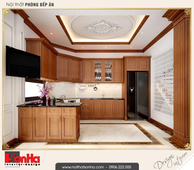 2 Mẫu thiết kế nội thất phòng bếp ăn biệt thự tân cổ điển khu đô thị vinhomes hải phòng