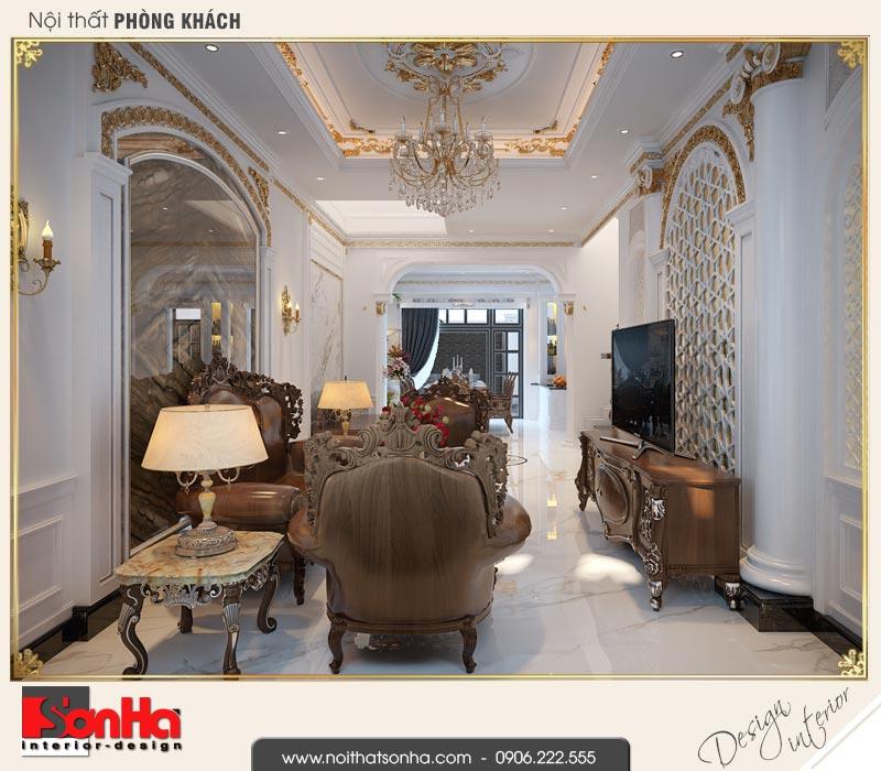 2 Mẫu thiết kế nội thất phòng khách biệt thự tân cổ điển khu đô thị vinhomes hải phòng