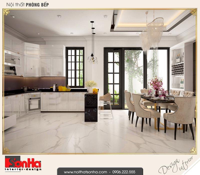 3 Thiết kế nội thất phòng bếp ăn biệt thự tân cổ điển khu đô thị vinhomes hải phòng vhi 0001