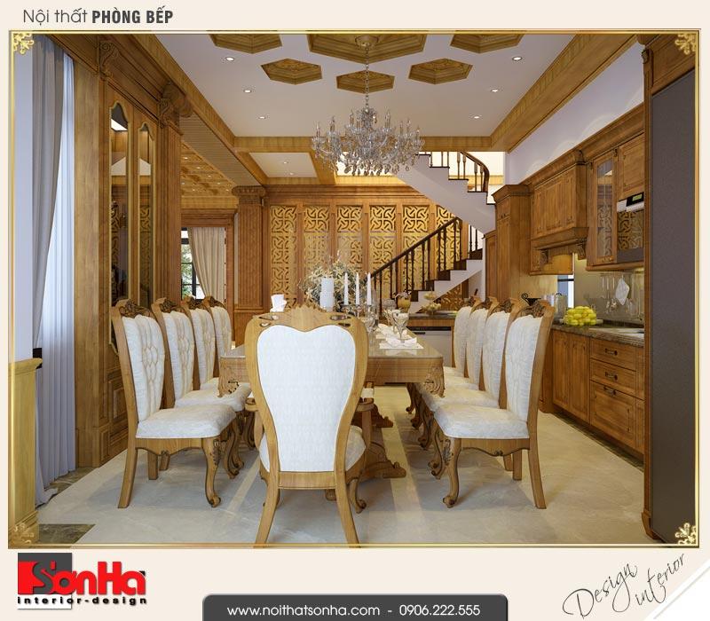 4 Mẫu thiết kế nội thất phòng bếp ăn biệt thự tân cổ điển khu đô thị vinhomes hải phòng