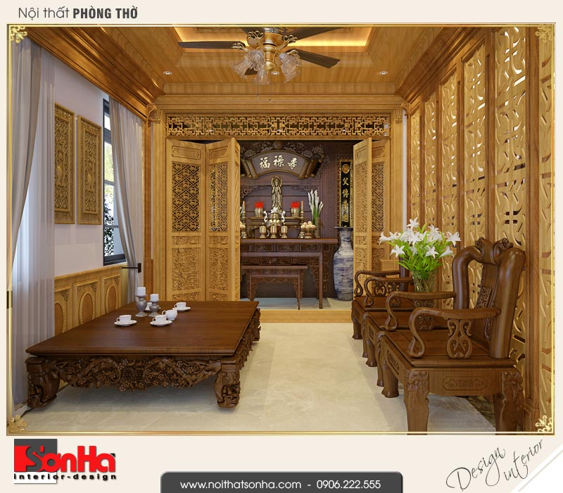 5 Thiết kế nội thất phòng thờ biệt thự tân cổ điển khu đô thị vinhomes hải phòng