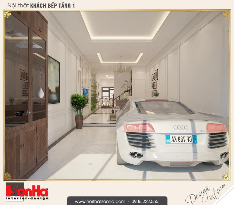 1 Mẫu nội thất gara để xe nhà ống kiến trúc pháp đẹp tại hà nội sh nop 0169