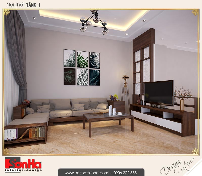 1 Thiết kế nội thất phòng khách tầng 1 nhà phố liền kề khu đô thị waterfront hải phòng sh wtc 0003