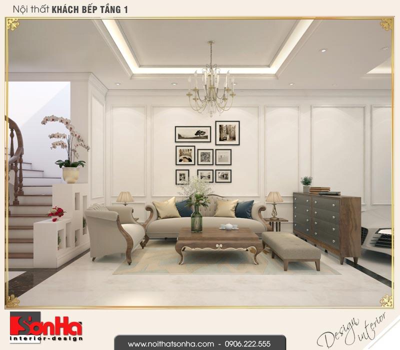 2 Thiết kế nội thất phòng khách nhà ống cổ điển pháp tại hà nội sh nop 0169