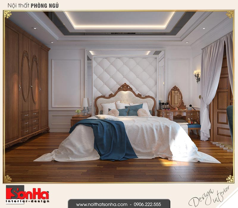 5 Thiết kế nội thất phòng ngủ 1 nhà ống cổ điển pháp tại hải phòng sh nop 0159