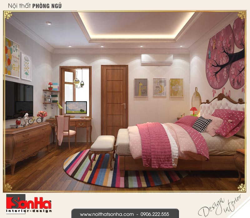 8 Mẫu nội thất phòng ngủ 2 nhà ống cổ điển pháp tại hải phòng sh nop 0159