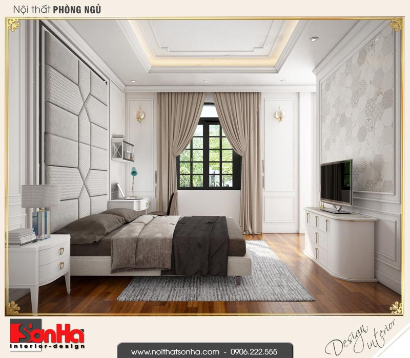 8 Thiết kế nội thất phòng ngủ 2 biệt thự tân cổ điển khu đô thị vinhomes hải phòng vhi 0003