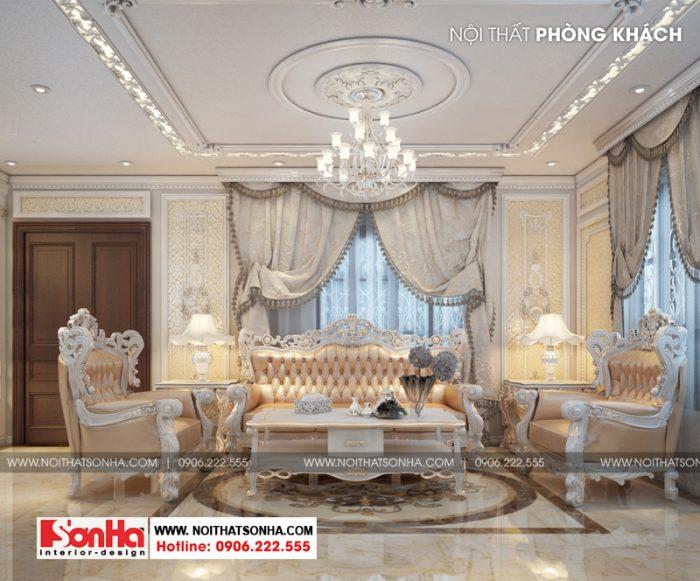 Thiết kế nội thất phòng khách phong cách tân cổ điển sang trọng và tinh tế