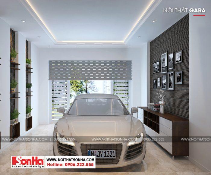 Thiết kế nội thất gara nhà ống phong cách hiện đại được trang trí đẹp mắt