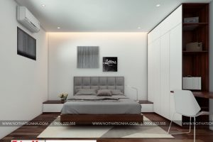1 Thiết kế nội thất phòng ngủ hiện đại 1 căn hộ cho thuê tại hải phòng