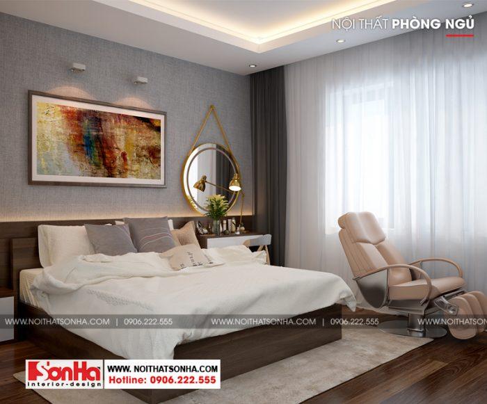 Phòng ngủ master phong cách hiện đại cho nhà phố diện tích 5mx20m
