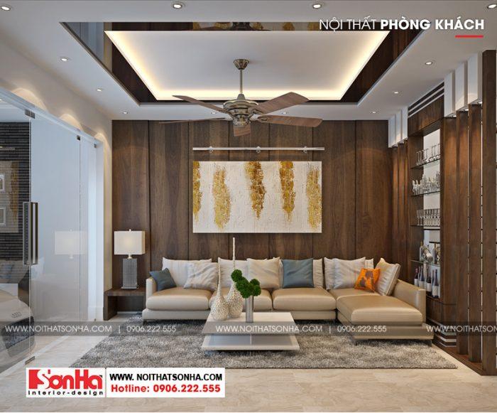 Mẫu phòng khách hiện đại đẹp của ngôi nhà phố 3 tầng diện tích 100m2 tại Hải Phòng