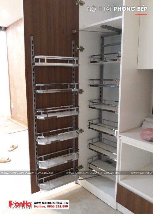 2 Mẫu thi công nội thất tủ bếp nhà ống hiện đại tại hải phòng