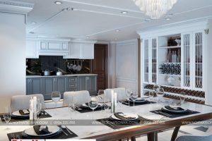 3 Mẫu nội thất phòng bếp ăn biệt thự tân cổ điển mặt tiền 7,4m tại hải phòng