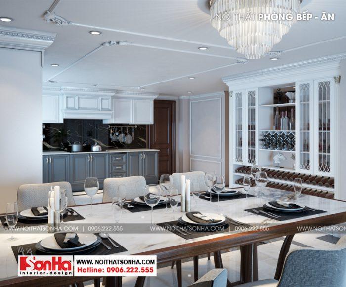 thiết kế phòng bếp ăn với gam màu nâu và trắng chủ đạo làm nên sự ấm cúng