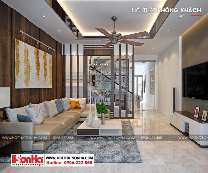 Phương án thiết kế phòng khách hiện đại ngang 5m đơn giản đẹp mắt