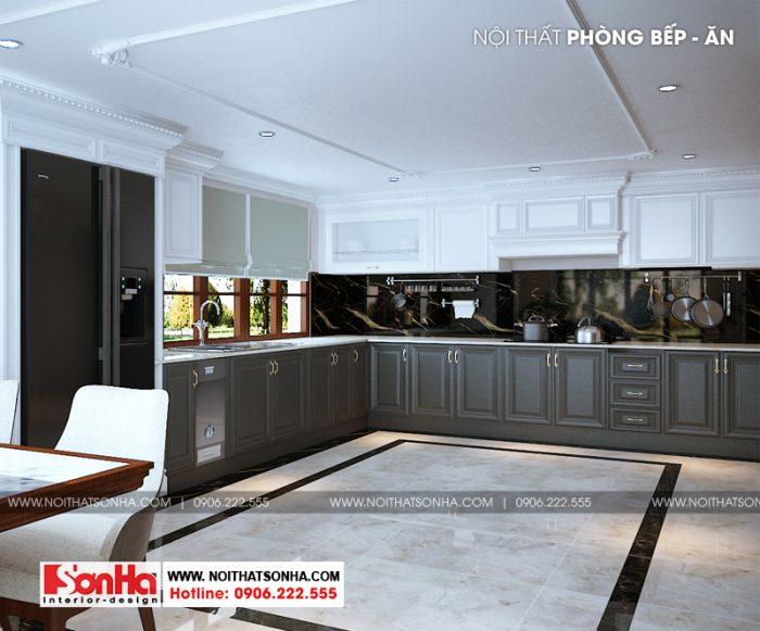 Tạp hình tủ bếp chữ L rộng rãi trong không gian phòng bếp của biệt thự