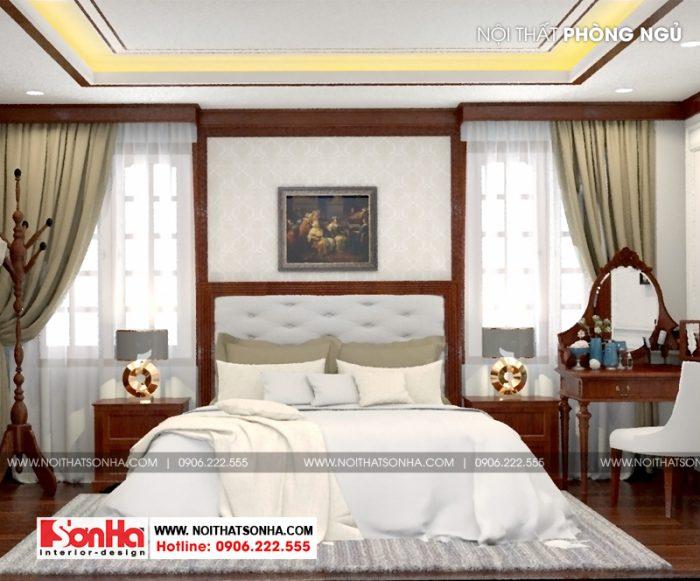 Thiết kế nội thất phòng ngủ phong cách tân cổ điển sử dụng sàn gỗ công nghiệp