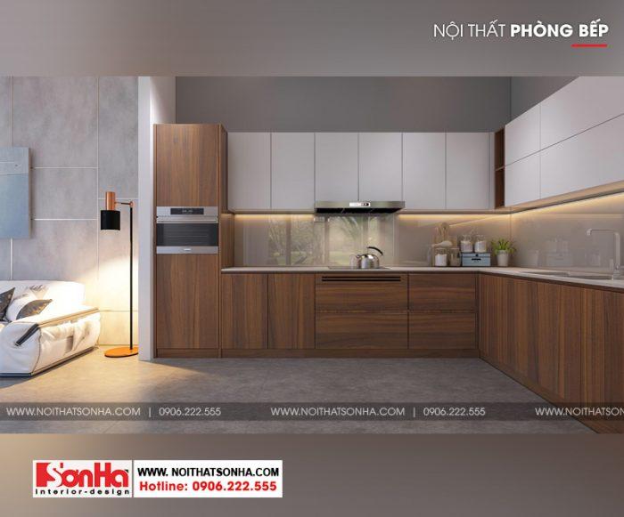 5 Mẫu thiết kế nội thất phòng bếp nhà ống phong cách hiện đại tại hải phòng